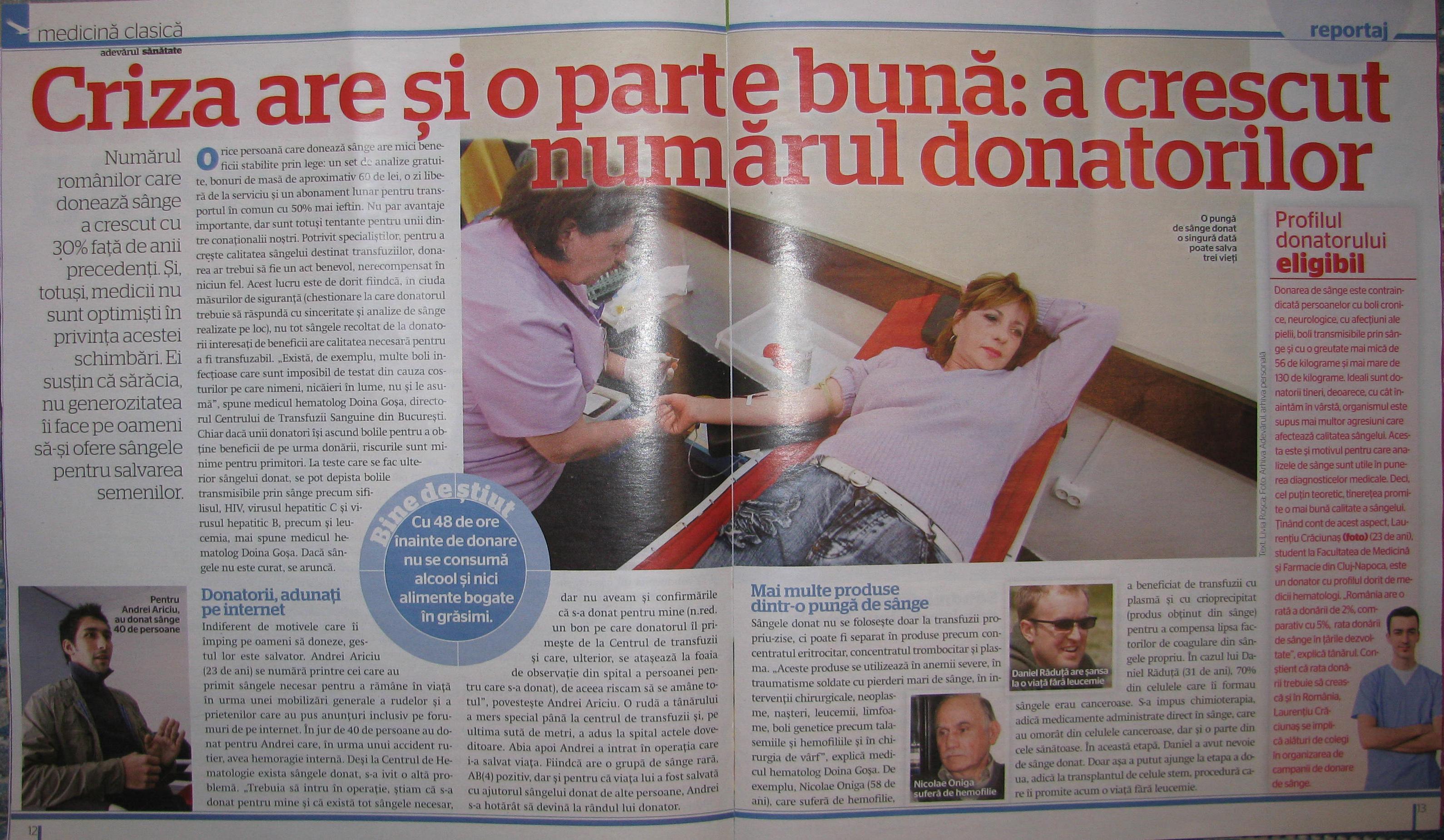 Laurentiu Craciunas despre donarea de sange