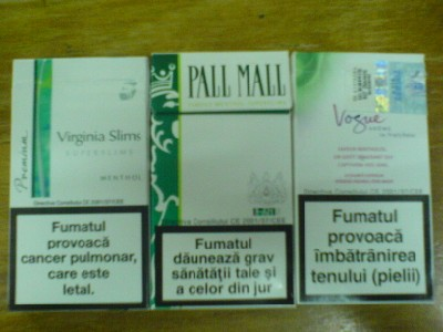 virginia slims, pall mall, vogue